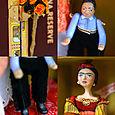 Cigar Box Shrine-Frida doll and Diego Marionette