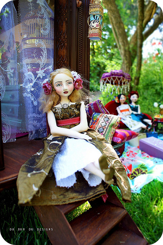 Gypsy Caravan and dolls by Christine Alvarado 2009