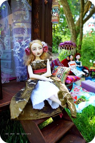 Gypsy Caravan and dolls by Christine Alvarado 2009